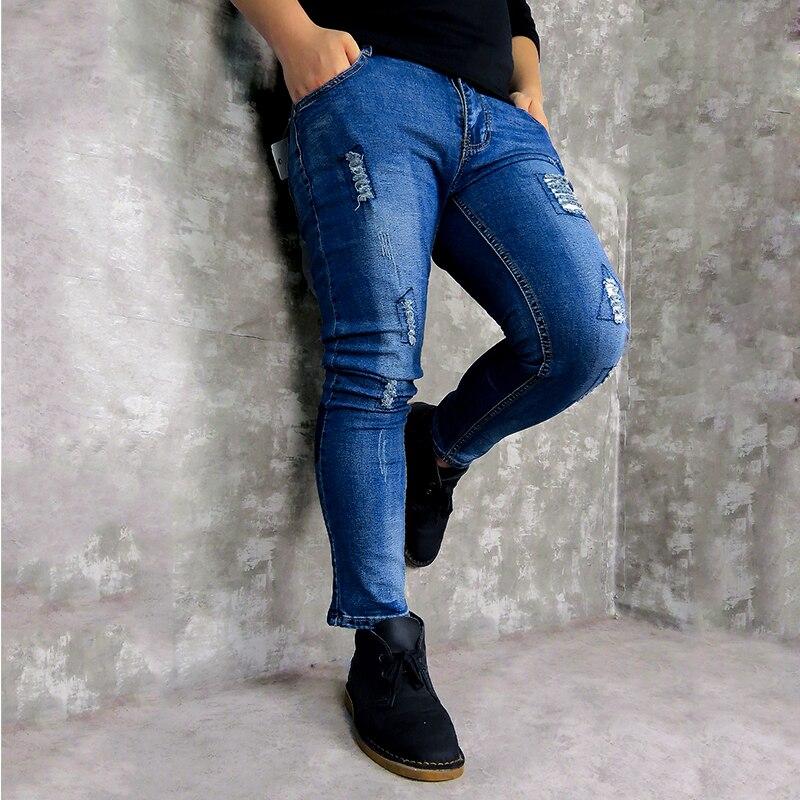 2019 Men's New Jeans Blue Stretch Ankle-length Pants Ripped Broken Man Torn Slim Skinny Denim Biker Jeans Streetwear Trousers