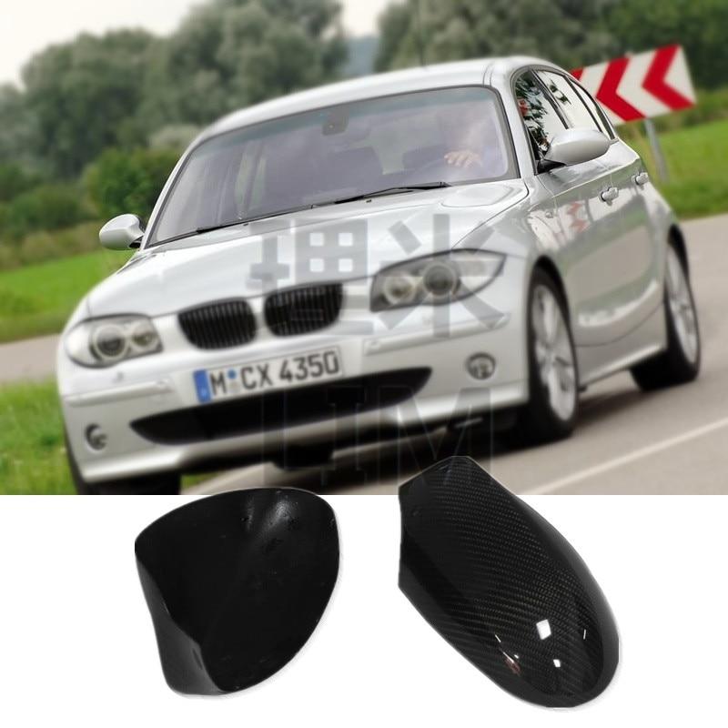 Pour BMW Série 1 E87 2005-2009 2010-2011 Fiber De Carbone Side Door Mirror Rétroviseur Couverture Cap autocollant Car Styling Accessoires