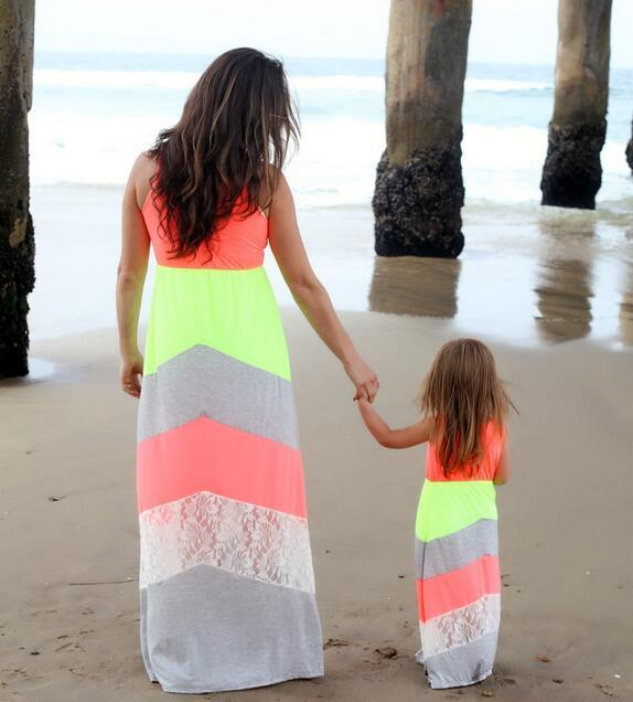 Mommy and Me Matching Dresses 2017 Summer Mother and Daughter Girls Outfits Chervon Lace Fall Dress Family Matching Clothes