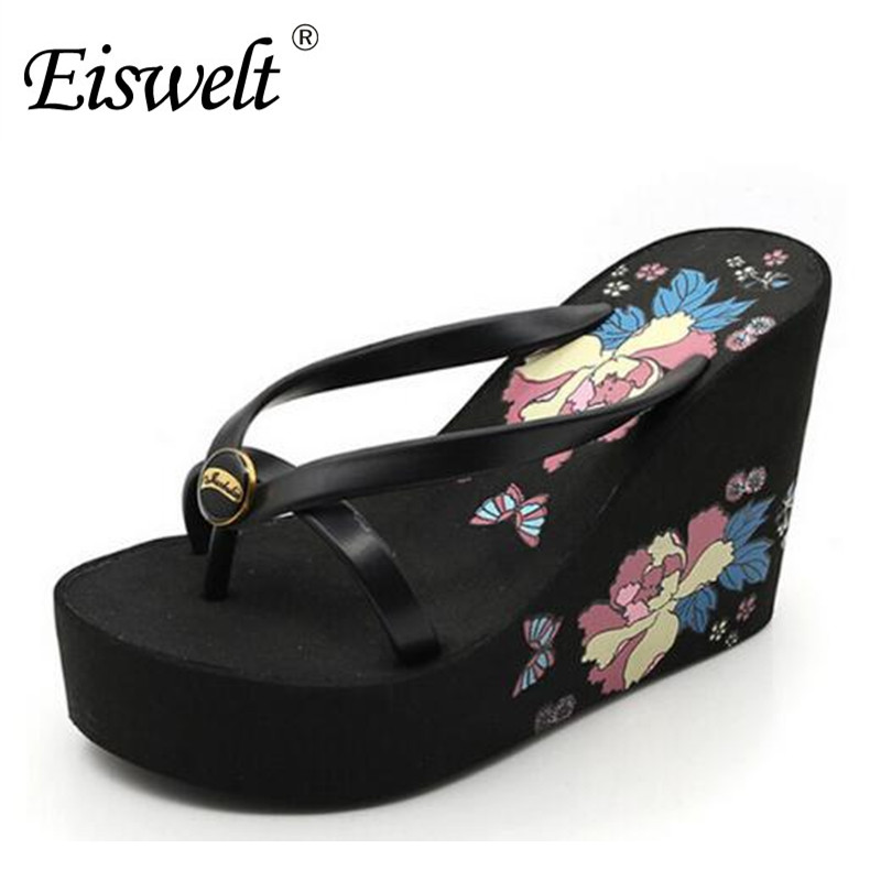 Eiswelt Summer Women Sandals Casual Style Floral Flip Flops High Platform Wedges Hot Shoes Woman Size 35-39#DZW29 phyanic 2017 gladiator sandals gold silver shoes woman summer platform wedges glitters creepers casual women shoes phy3323