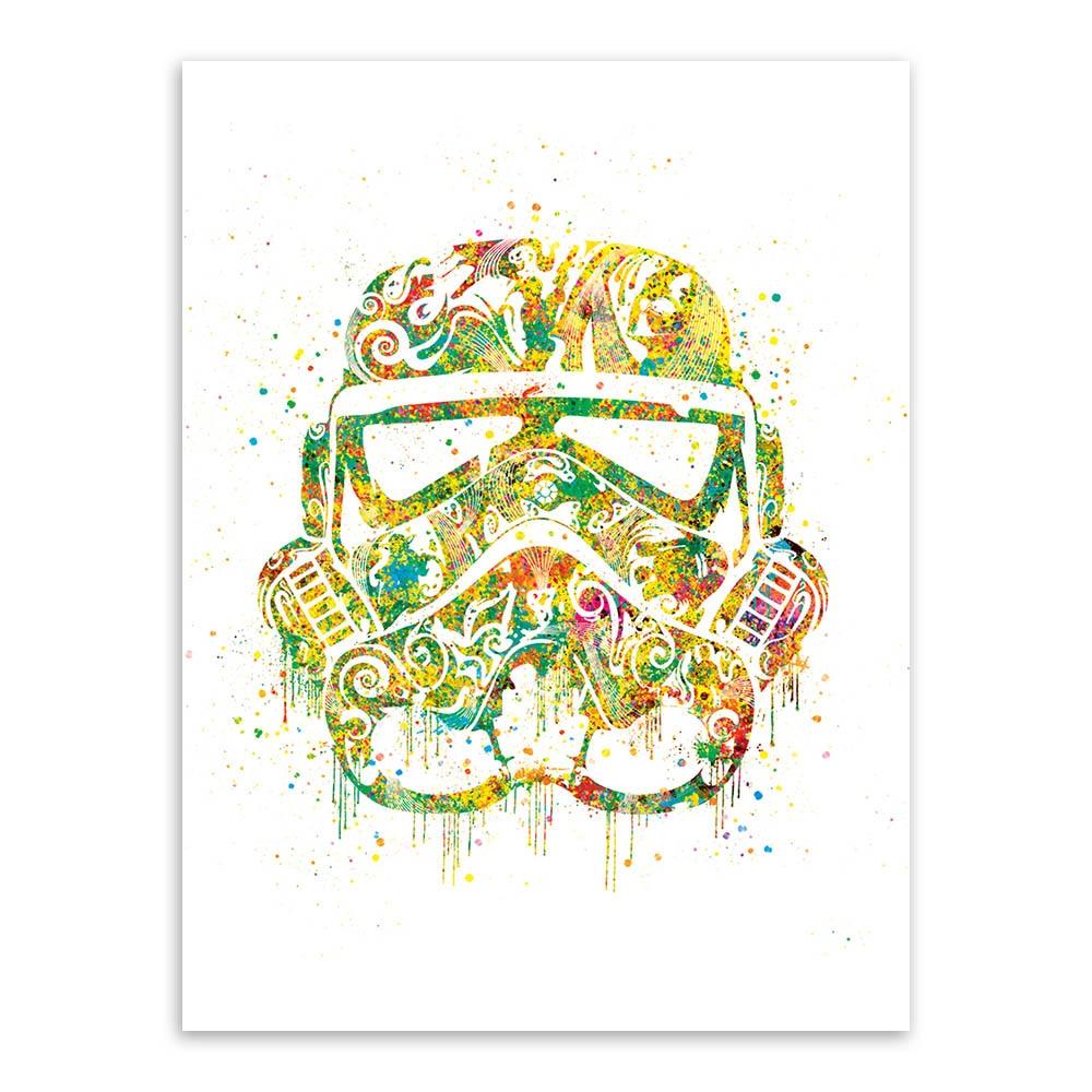 Original Watercolor Star Wars Helmet Mask Darth Vader Pop Movie Art ...