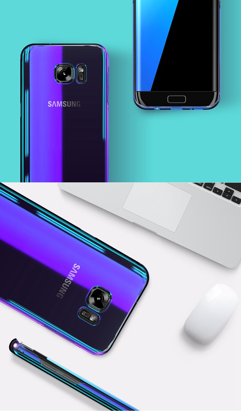 Blue Light Cover For Samsung S8 Case Galaxy S8 Plus Gradient Aurora Phone Cases For Samsung S8 S7 S6 Edge (7)