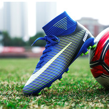 Soccer Shoes Men Football Boots Men Soccer Cleats Boots Long Spikes TF Spikes Ankle High Top Sneakers Soft Indoor Turf Futsal 33(China)