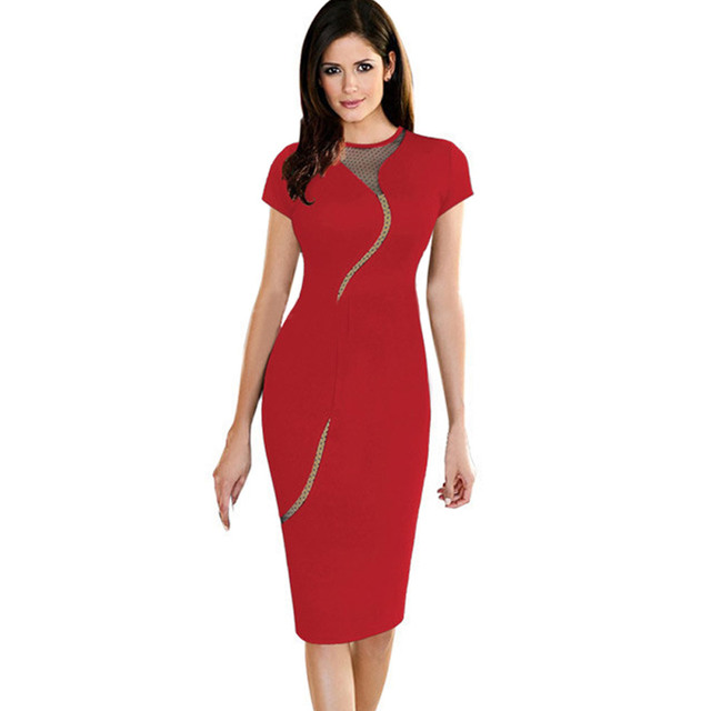 a26d37d482 2016 HOT Sale Women Red Dress Work Office Bodycon Dresses Elegant Ladies  Dress Short Sleeve Pencil