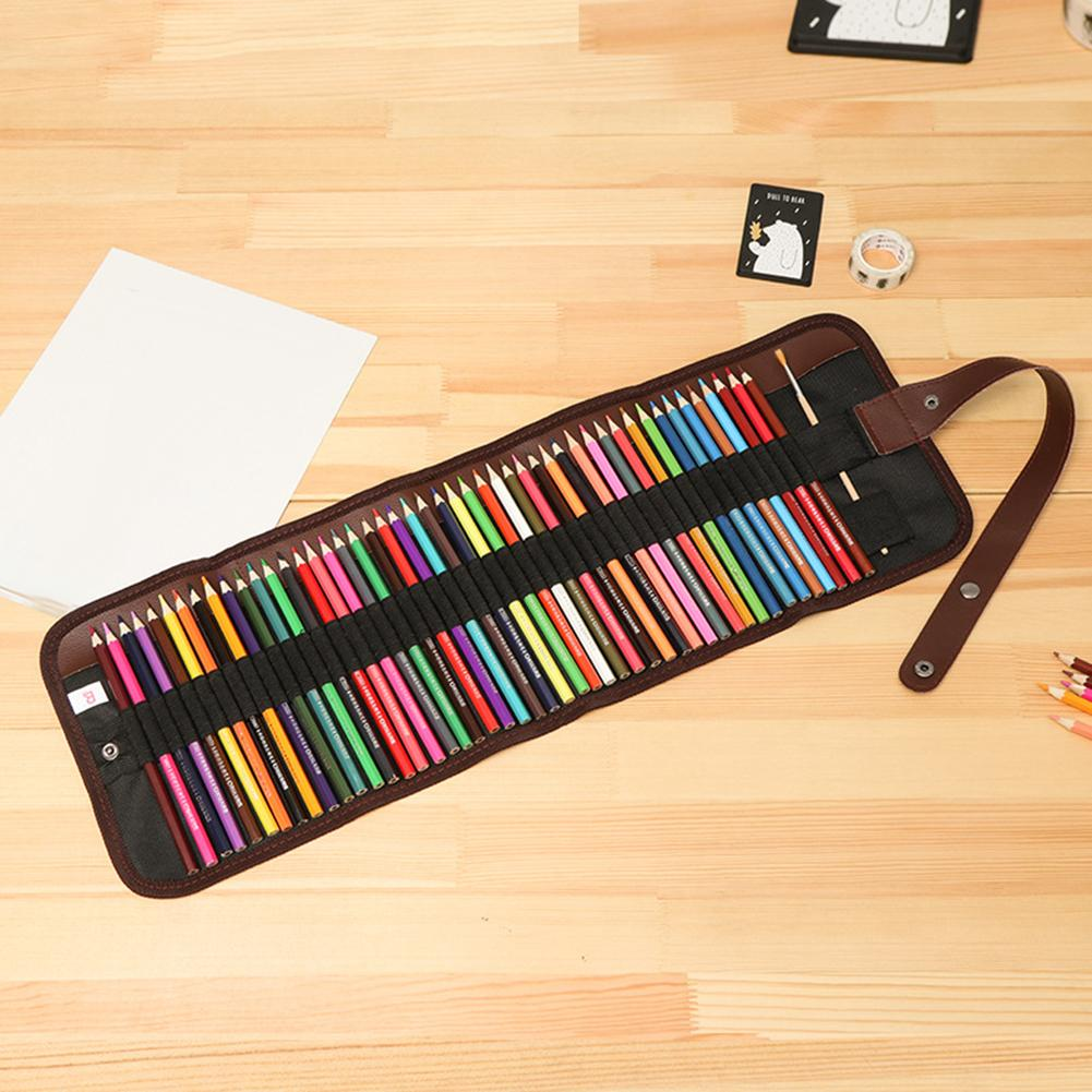 48Pcs Art Sketching Pencils Student Drawing Canvas Carry Pouch Roll Bag Set Pencil Bag School Supplies