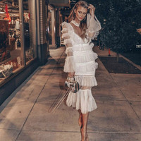 Spring Women Elegant Ruffles Layer Long Flare Sleeve White Mesh Pleated Long Dress 2019 Bohemian Bech Dress Runway Dress
