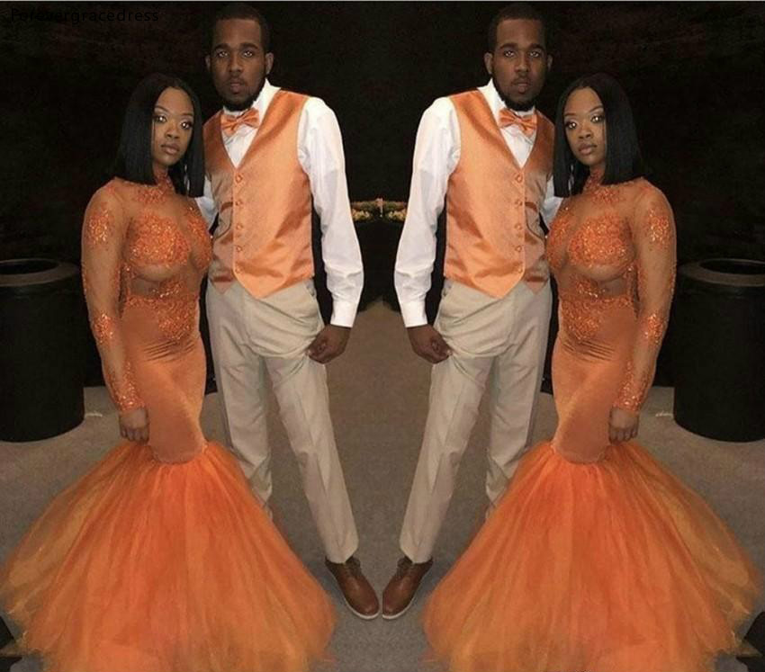 Amazing Orange Long Sleeves   Prom     Dresses   African Black Girls Holidays Graduation Wear Evening Party Gowns Plus Size Custom Made