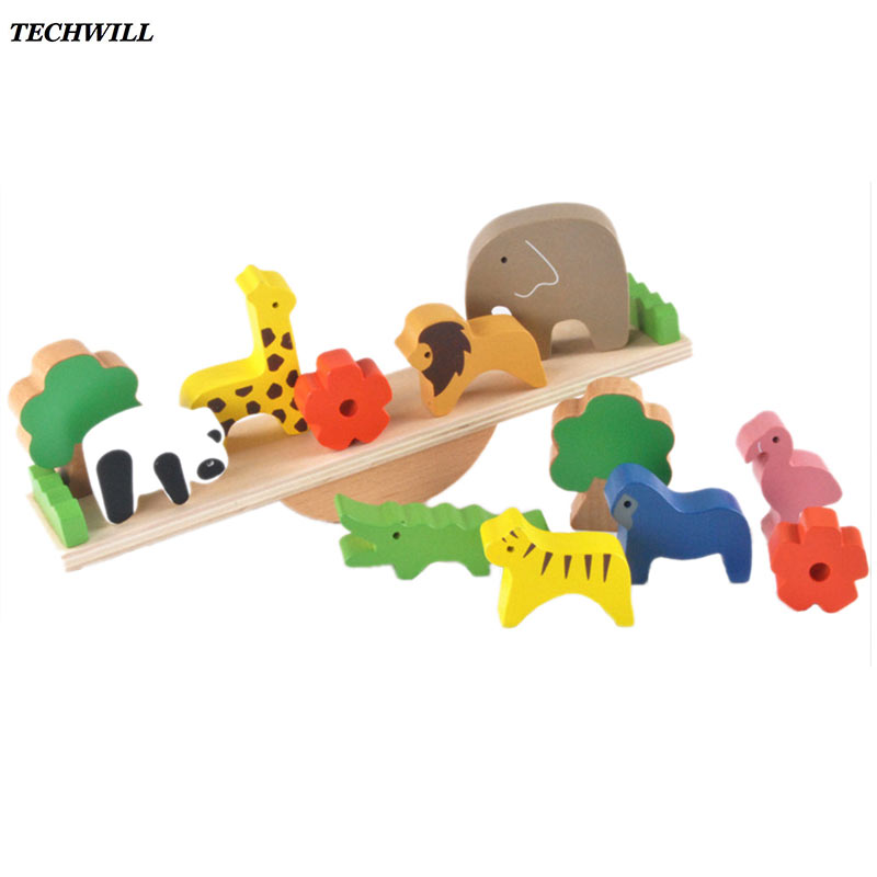 Baby Toys Cute Forest Animal Seesaw Building Blocks Wooden Balance Wood Toys For Children Creative Assembling Educational Toys 2017 hot sale forest animals children assembled diy wooden building blocks toys baby toy best gift for children ht2265