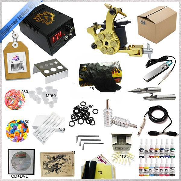 Top 2016 Complete Tattoo Kit Mini Gun Rotary Machine Equipment sets +Ink +Power Supply +Needle + CD for Beginners Body Art #T 2016 high quality 2 gun rotary tattoo kit glitter complete machine equipment sets ink piercing tools for beginners body art t