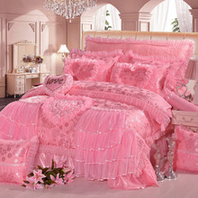 Hot 4/6/8 pcs jacquard lace red pink luxury bedding set Queen King size wedding bed cotton sheets duvet cover bedspreads
