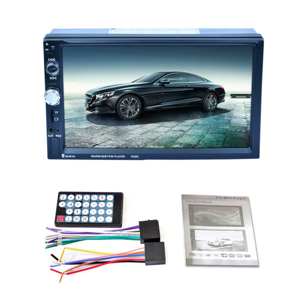 7025D HD Digital 7 Inch Touch Screen Car Multimedia Player Support Mobile Phone Interconnection GPS Bluetooth
