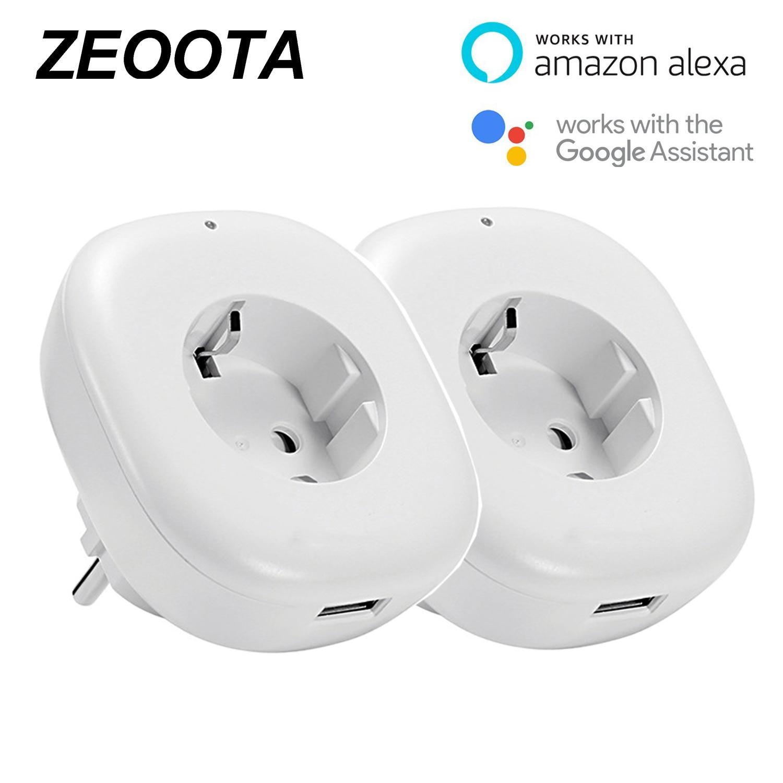 Inteligentny WiFi wtyczka zasilania gniazdo wyjściowe z USB funkcja pomiaru czasu pilot zdalnego sterowania App współpracuje z Amazon Alexa, Google domu, IFTTT 2PACK w Inteligentna wtyczka do gniazda zasilania od Elektronika użytkowa na  Grupa 1