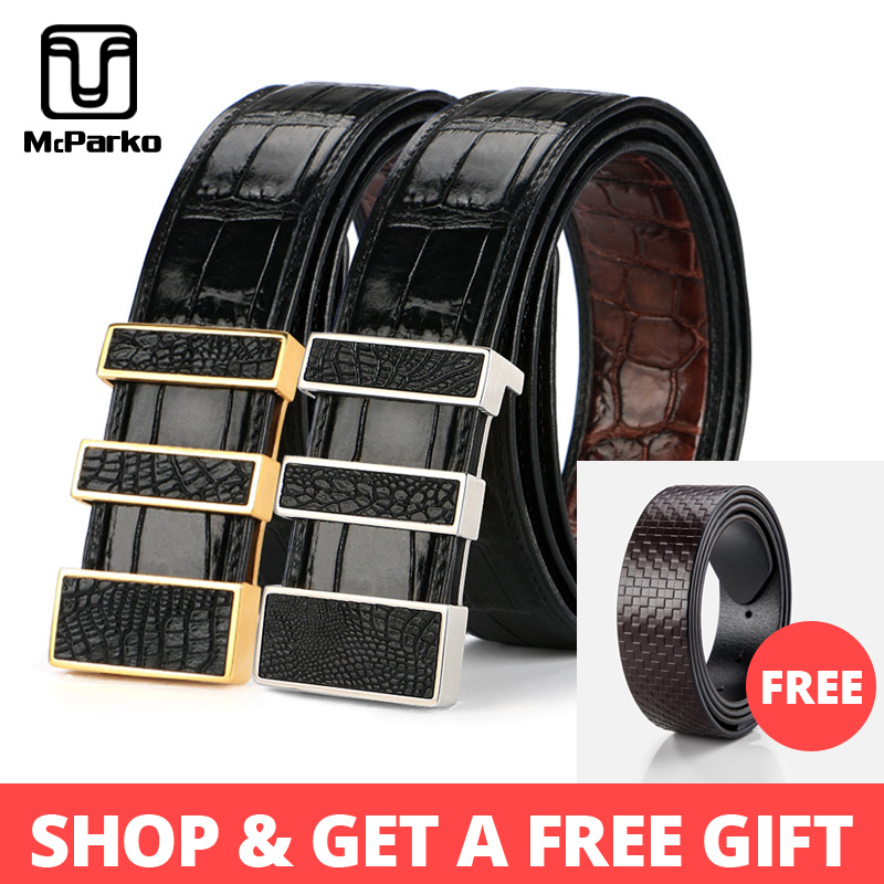 McParko Precious Crocodile Leather Belt Men Double side Crocodile Belt Luxury Design Stainless Steel Buckle Waist