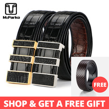 McParko Precious Crocodile Leather Belt Men Double side Crocodile Belt Luxury Design Stainless Steel Buckle Waist Belt Brown New fashionable crocodile and letter z shape inlay design auto buckle belt for men