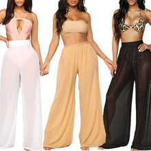 New Sexy Women Beach Mesh Pants Sheer Wide Leg Pants Solid Transparent See through Sea Holiday Bikini Trousers 3 Color S-XXL