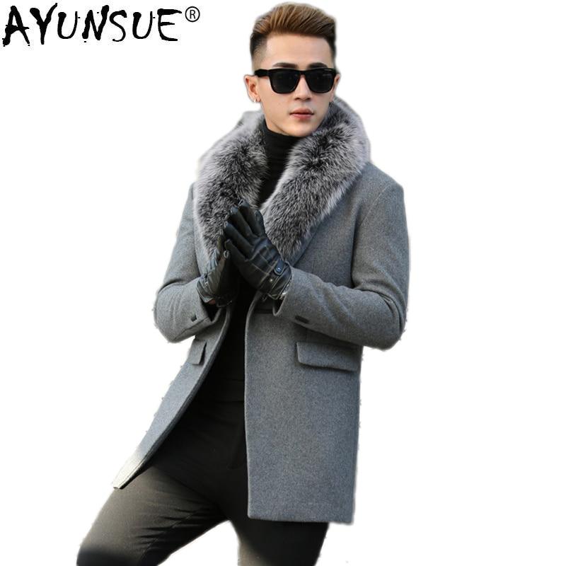 AYUNSUE Laine Manteau pour Hommes Automne Hiver Veste Homme Réel Fox Col De Fourrure Plus La Taille Long Mens Manteaux et Vestes manteau Homme KJ817