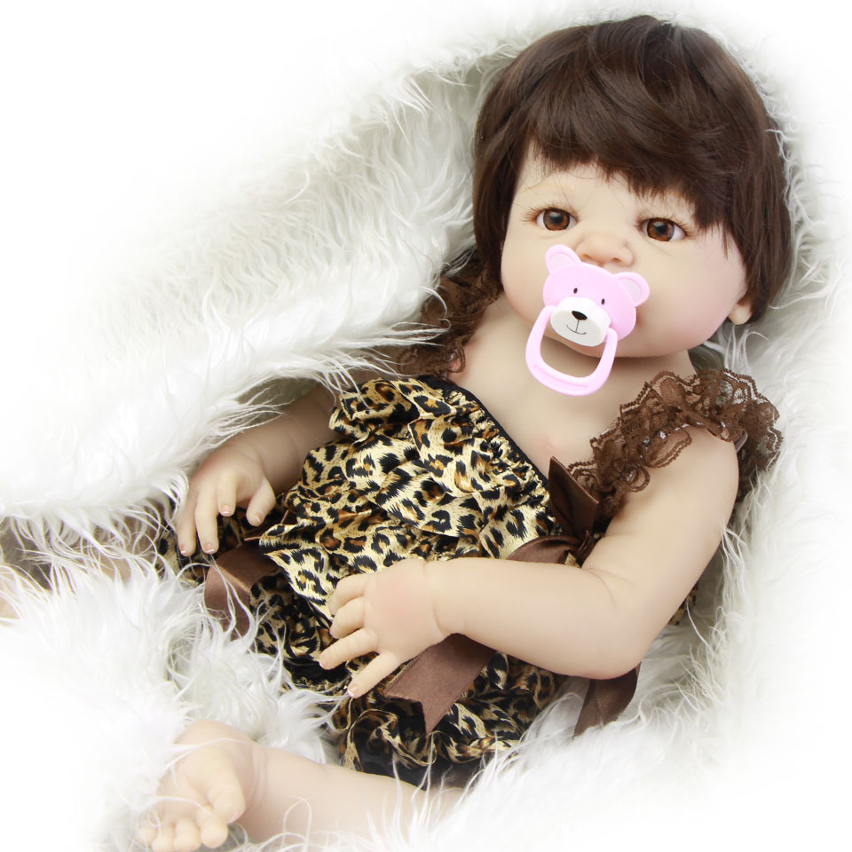 23'' Reborn Baby Doll Girl Full Silicone Realistic Russian Babies Doll Suck Pacifier Waterproof Summer Reborn Baby Toy Xmas Gift suck uk