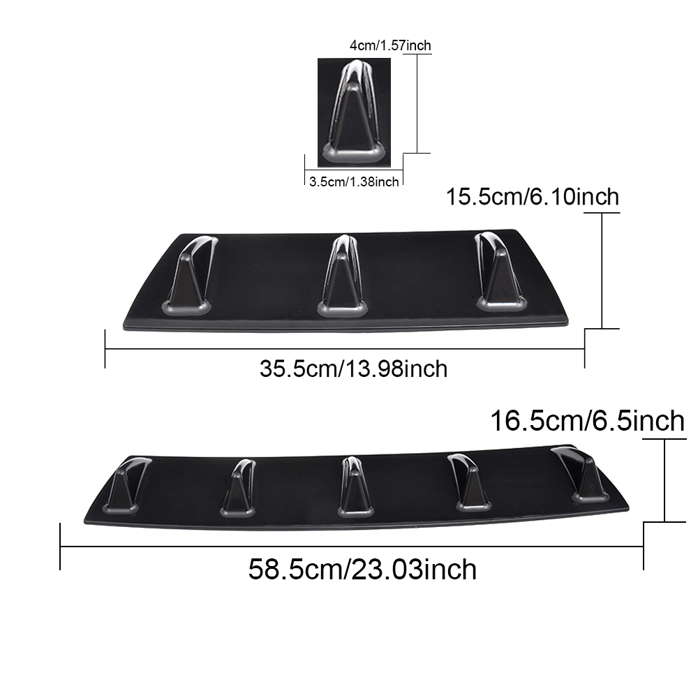 Universal Rear Bumper Lip Chassis Diffuser Black ABS Plastic 3 Fin 5 Fin Shark For BMW F30 E46 Ford Focus 2 Toyota Corolla in Bumpers from Automobiles Motorcycles