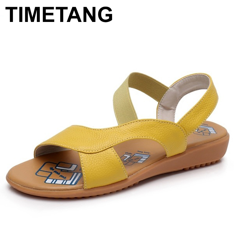 TIMETANG Cow Genuine Leather Sandals Women Flat Heel Sandals Fashion Summer Shoes Woman Sandals Summer Plus Size 34-43 timetang flat sandals t strap fashion trend sandals bohemia national flat heel beaded female shoes sale women shoes
