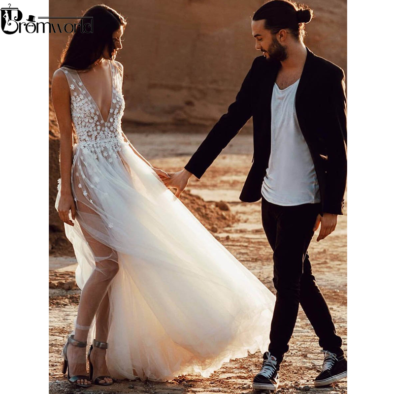 Sexy Illusion Beach Wedding Dresses for Wedding Photograph V Neck Flowers Tulle Bridal Dress High Slit Wedding Gown 2019