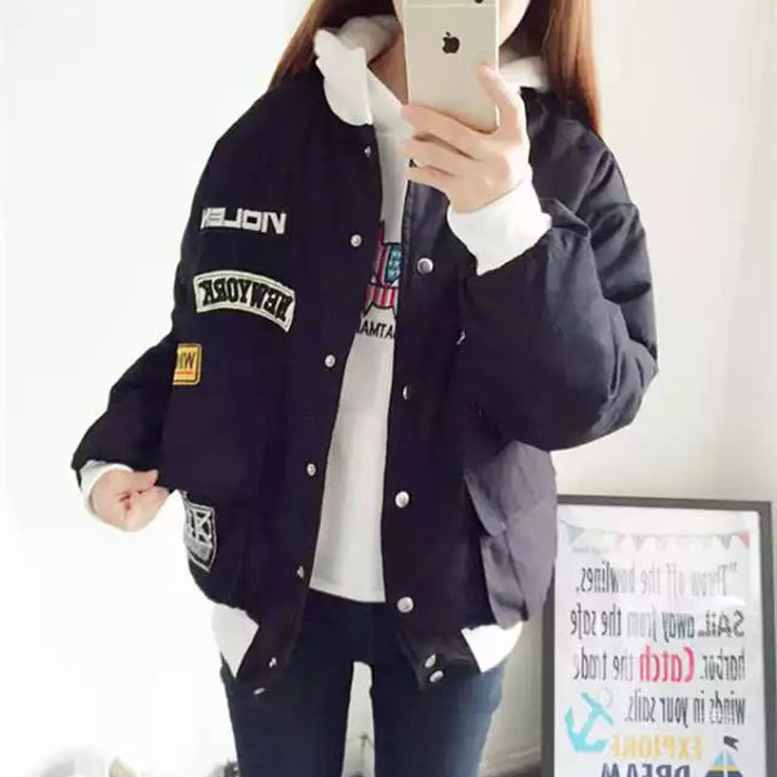 Korean female college wind in autumn and winter coat thick short cotton padded BF Korean female student wind jacket