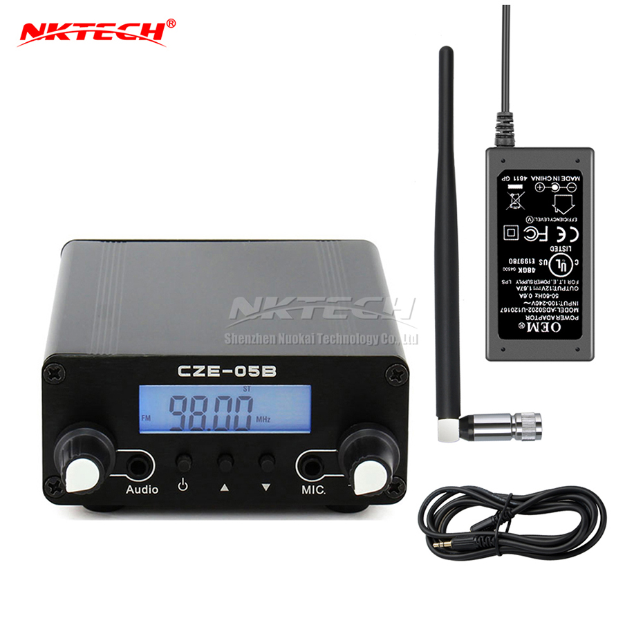 NKTECH 5W/7W 76-108MHZ Amplifiers Stereo PLL FM Transmitter Broadcast Radio Station dac CEZ-5C+Adapter+Metal Antenna+Cable Гриль