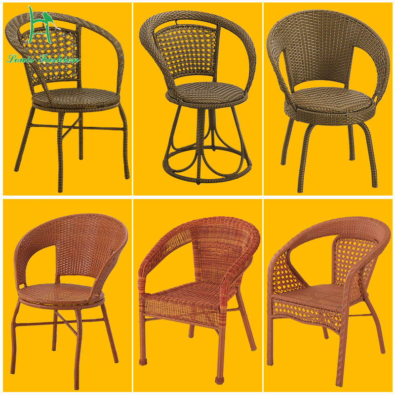 Louis Fashion Balcony Chair with Armrest Single Computer Mahjong Leisure Rattan Outdoor Patio Chair Back Home