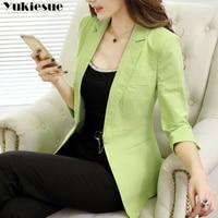 Vintage cotton linen Office Ladies Plaid Blazer Long Sleeve Loose womens Suit Coat Jacket Women blazers Female 2019 Plus size