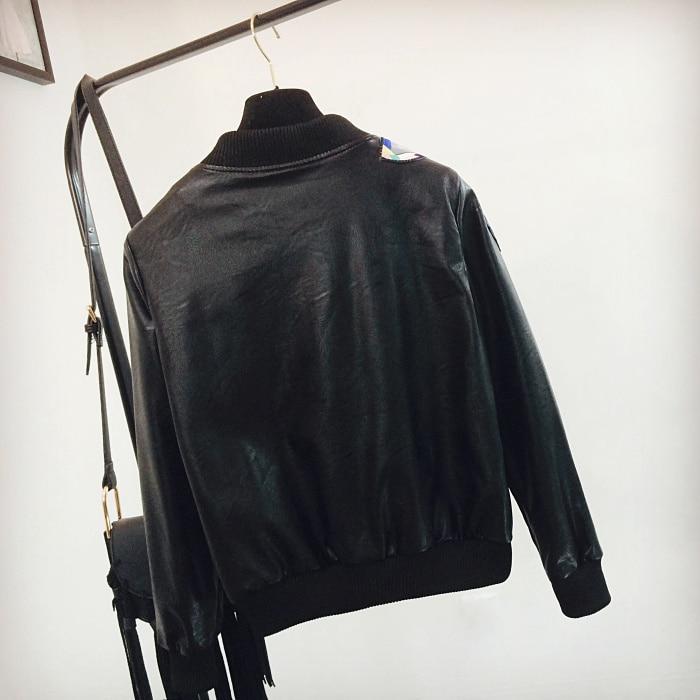 Manches Automne Printemps Du 2018 Broderie Pu À Femme Lady Manteaux Début Tempérament Papillon Outwear Black Manteau Au Veste Longues Zipper qtIg6