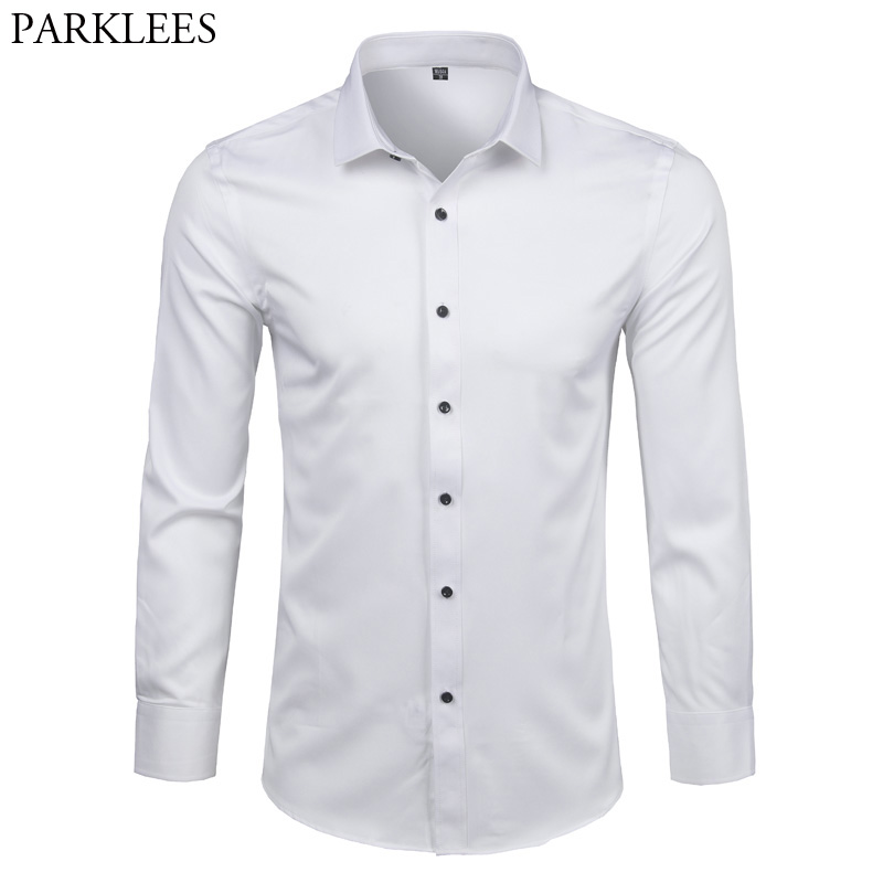 Men's Bamboo Fiber Dress Shirts Slim Fit Long Sleeve Shirt 2018 New Casual Button Down Elastic Formal Shirts For Business Man