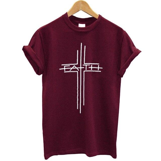 502795a2b 100% Cotton T Shirt Women Cross Printed Funny Summer Tops Streetwear Faith  Tshirt Plus Size