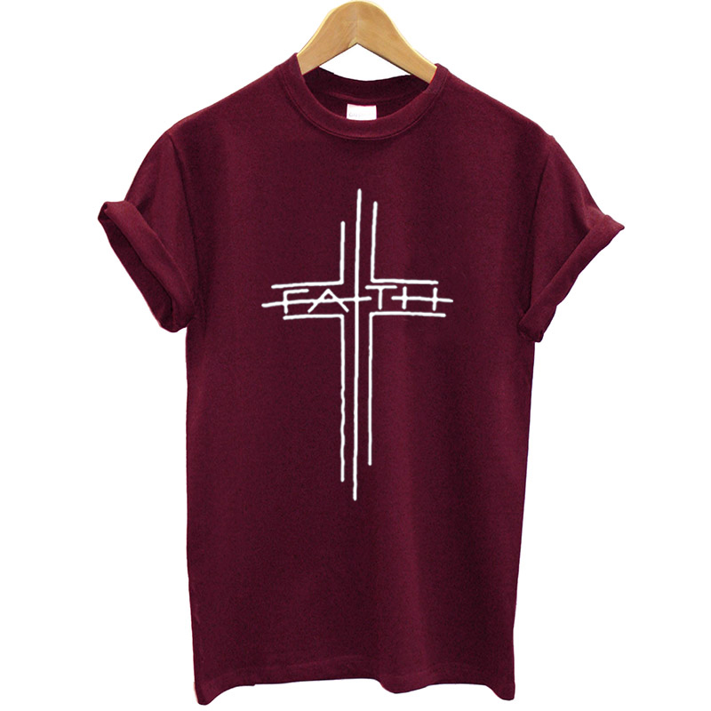 100% Cotton   T     Shirt   Women Cross Printed Funny Summer Tops Streetwear Faith Tshirt Plus Size Casual Christian Clothes Brand