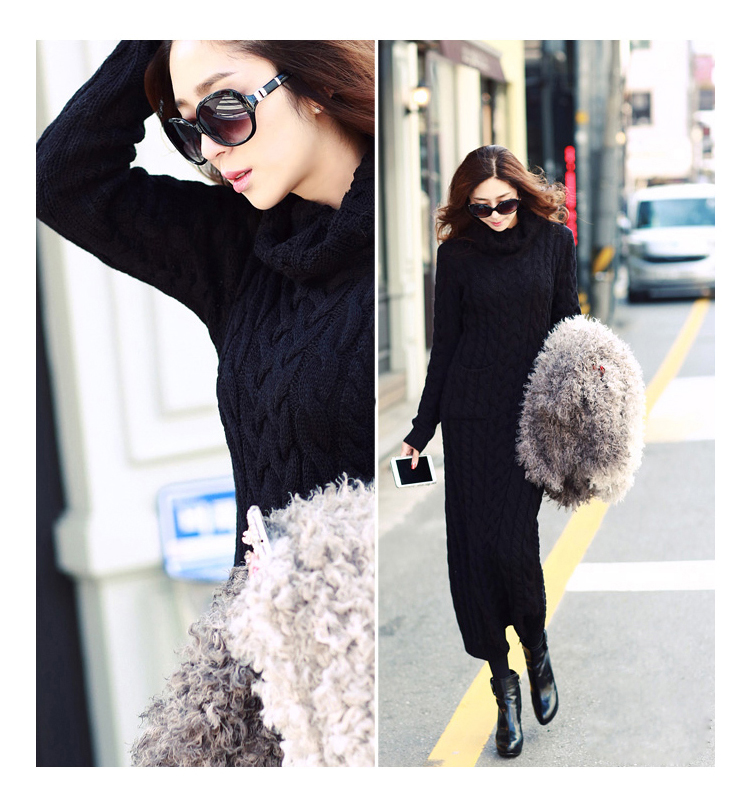 OHCLOTHING 19 European winter wool knitting female thickening noble temperament self-cultivation long bottom Sweaters 17