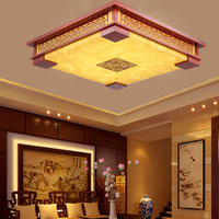 LED Chinese solid wood living room ceiling lamp restaurant bedroom classical yellow and white sheep skin square atmosphere lamps