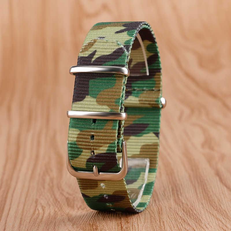 """22 מ""""מ החלפת בד ניילון רצועת השעון שעוני יד צבאיות הסוואה נאט""""ו רצועה עם אבזם סיכה + 2 ברים אביב פלדה"""