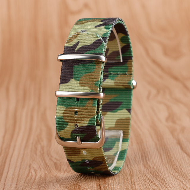 22mm Fabric Nylon Watchband Outdoor Military Wristwatch Strap NATO Camouflage Re