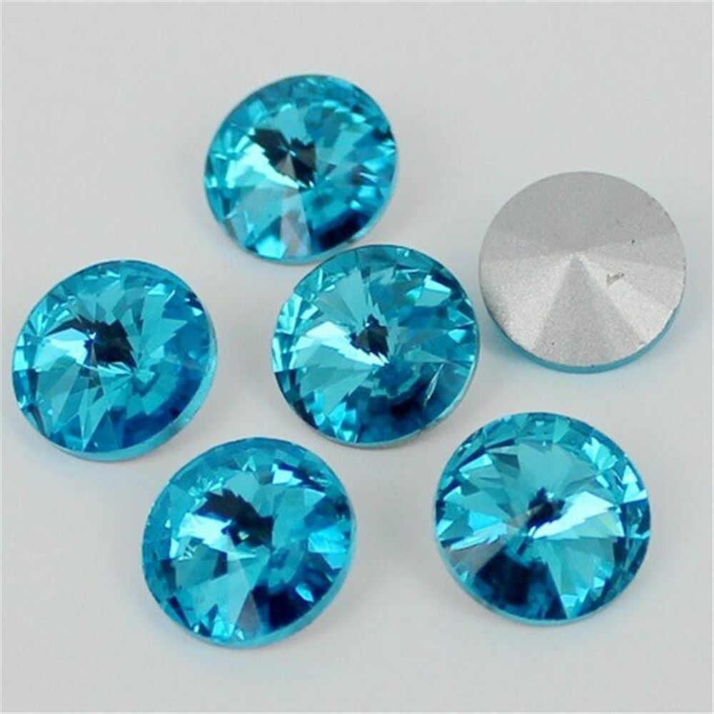 Diamantes de imitación de cristal con puntos sueltos de Color azul Aqua para decoración de artesanías de boda