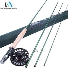 Maximumcatch 9ft 3/4/5/6/7/8 en peso mosca combo caña de carbono con de aluminio mecanizado carrete de la mosca