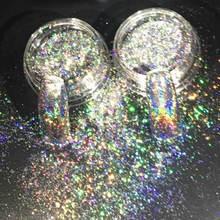 Arte do prego brilho laser flocos 0.2g brilhando lantejoulas holográfico pó pó efeito espelho prego glitter 3d unhas glitter flocos
