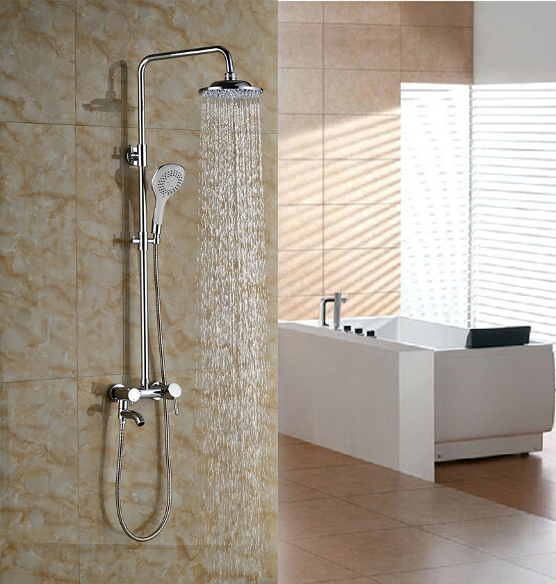 Chrome Finish Wall Mounted Shower Set Bathroom Rainfall 8-in Shower Faucet With Handheld new shower faucet set bathroom thermostatic faucet chrome finish mixer tap handheld shower wall mounted faucets