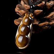 Tigers Eye Stone Pendant Drop Shipping Peaceful Bean Necklace With Chain Lucky Amulet Fine Jewelry For Men Women Gift недорого