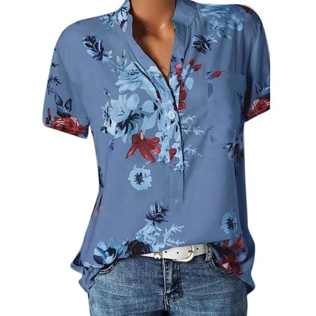 Elegant women's shirt printing large size casual shirt fashion V-neck short-sleeved shirt blouse 3