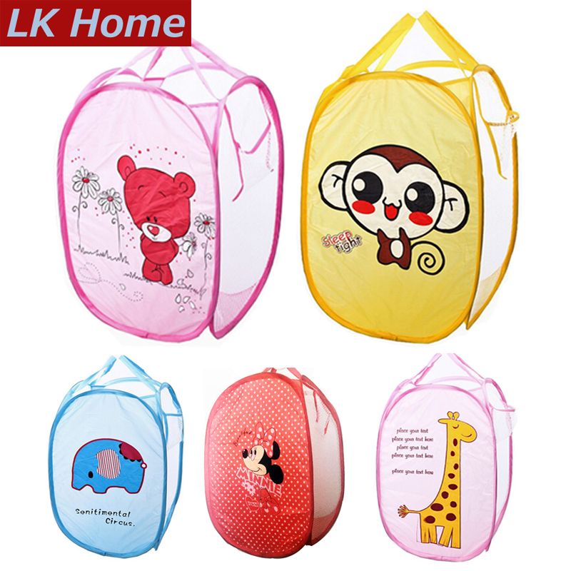 Minions Hello Kitty Folding Dirty Clothing Laundry Bucket Storage Basket Children's Toys Shoes Sundries Storage Organizer#S449