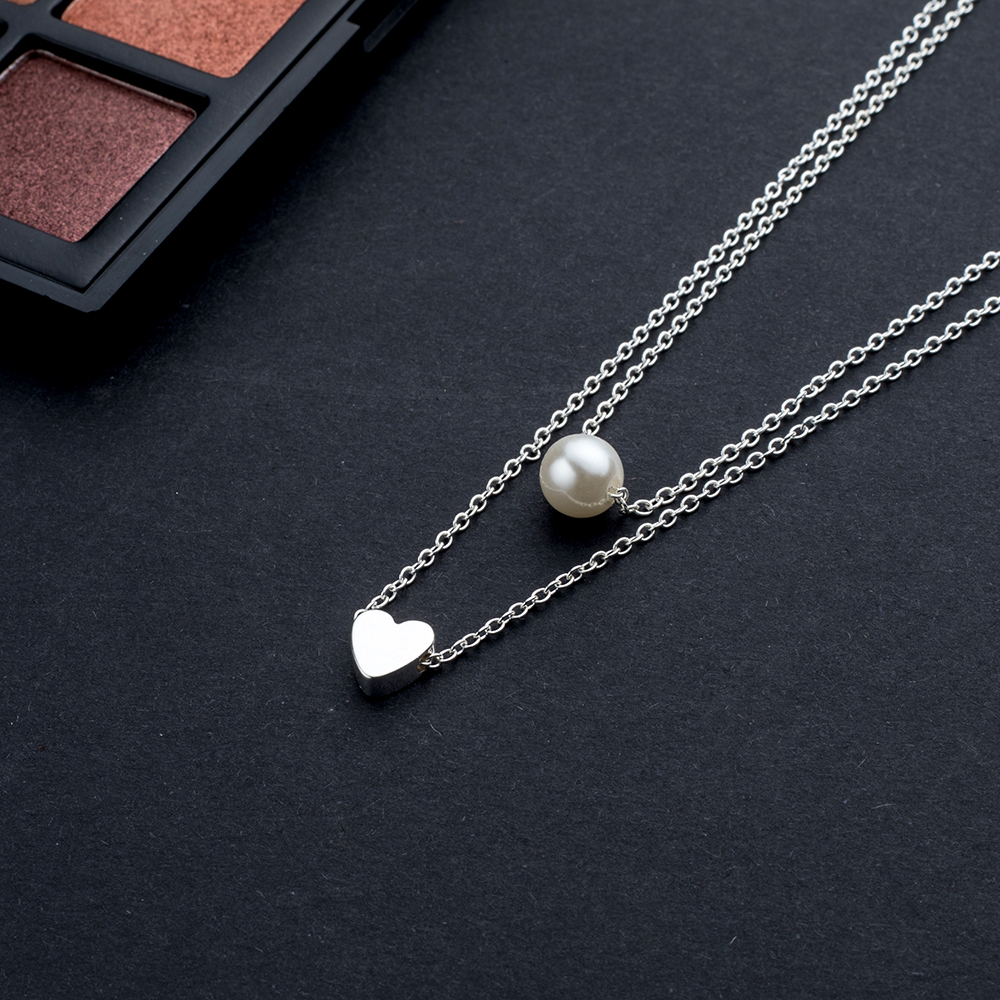 Women's Heart Shaped Double Layer Design Necklace Jewelry Necklaces Women Jewelry