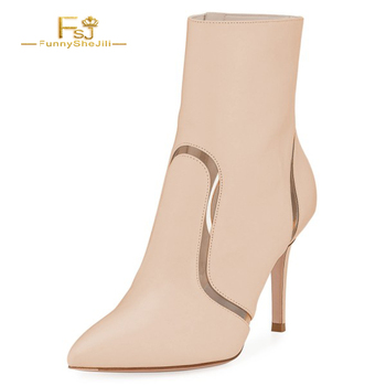 Woman Ankle Boots White Nude Clear Stripes Pointy Toe Stiletto Heel Ankle Booties Zipper Fashion Work Party Designer 2020 FSJ