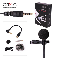 Ulanzi Arimic Lavalier Lapel Clip-on Omnidirectional Condenser Microphone for Apple iPhone/Android Smartphones/DSLRs/Camcorders