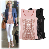 Women Basic T Shirt New Spring Autumn Sleeveless Elegant Ladies Sequins Patchwork Casual Tees Sexy Slim