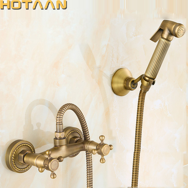 Free shipping New Arrivals Antique Bronze Bidet Faucet Dual Handle Mixer Wall Mounted Luxury Bathroom Shower