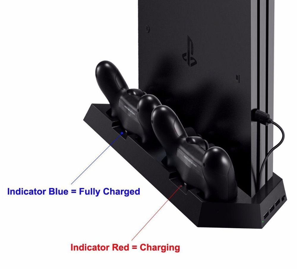 Купить с кэшбэком 3 in 1 Dual Controller Charging Station Cooling Fan,Vertical Stand Charger for PS4 / PS4 Pro/ PS4 Slim Game Console Space Saving
