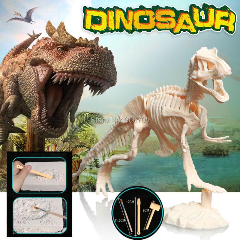Gali dan temukan merakit kerangka Dinosaurus Velociraptor Puzzle penggalian kit mainan pendidikan untuk anak-anak